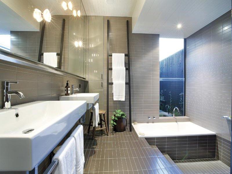 modern bathroom design with recessed bath using tiles bathroom photo