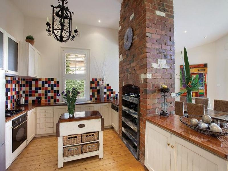 French Provincial Kitchen Dining Kitchen Design Using Exposed Brick Kitchen Photo 292143