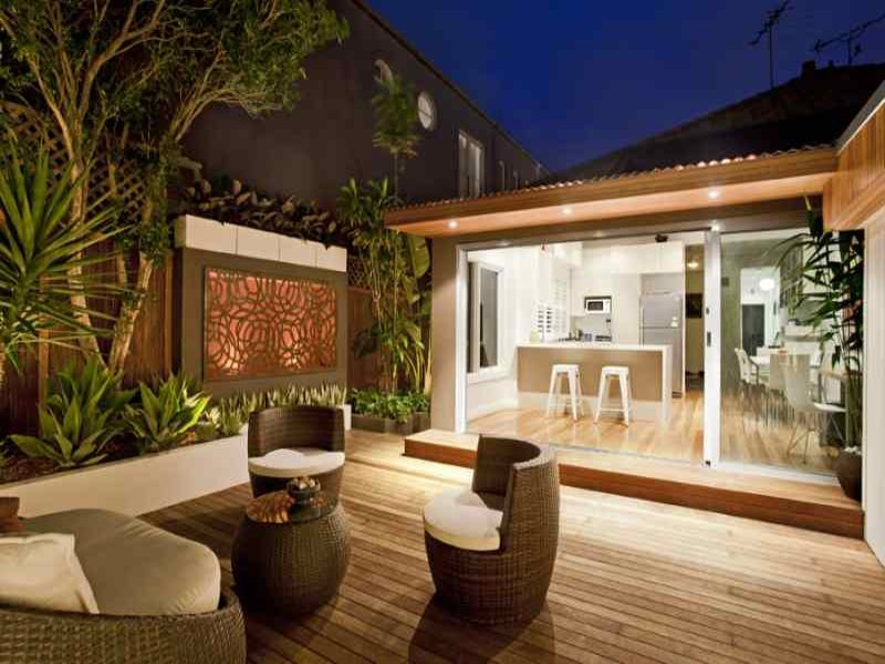 Outdoor living design with deck from a real australian Outdoor living areas images