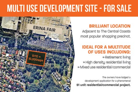 89 & 91 Karalta Road, Erina, 2250, Central Coast - Other / Multi Use Development Site For Sale / Garage: 1 / P.O.A