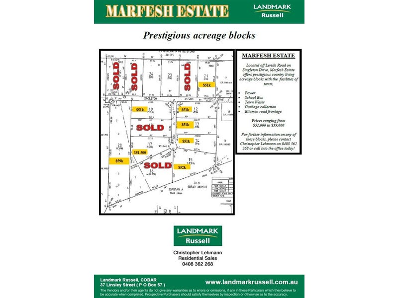 * Marfesh Estate (Singleton Drive), Cobar, NSW 2835