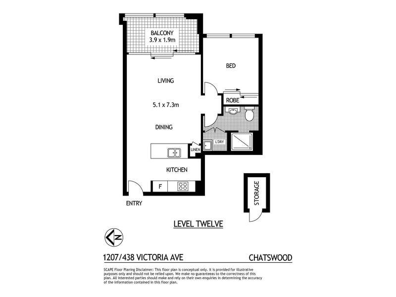 1207/438 Victoria Avenue, Chatswood, NSW 2067 - floorplan