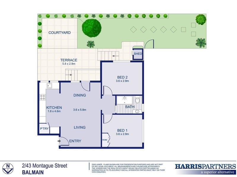 2/43 Montague Street, Balmain, NSW 2041 - floorplan