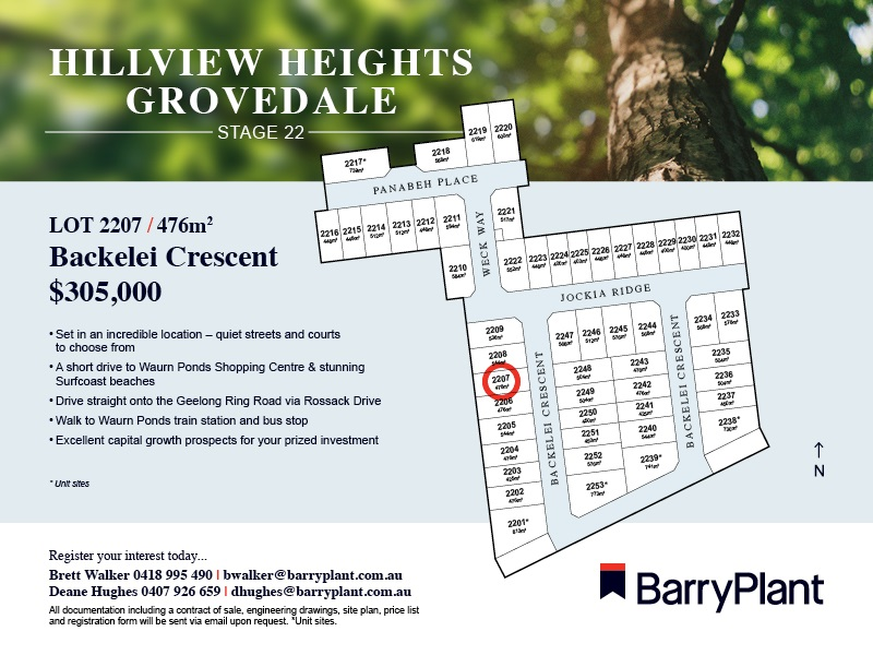 Lot 2207, Backelei Crescent, Grovedale, Vic 3216