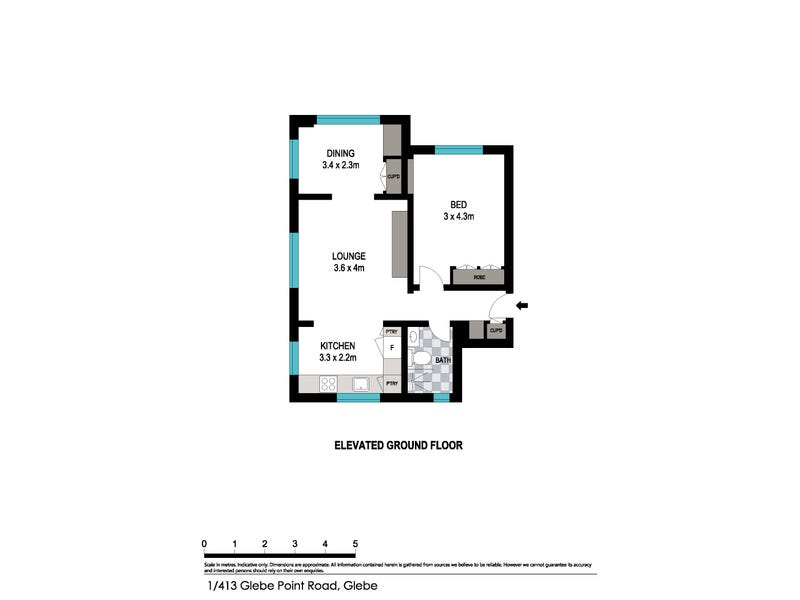 1/413 Glebe Point Road, Glebe, NSW 2037 - floorplan