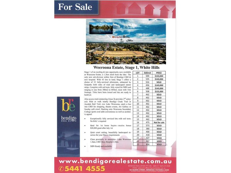 Weeroona Estate - Stage 1 Lots 1 - 23 Rheola Drive, White Hills, Vic 3550