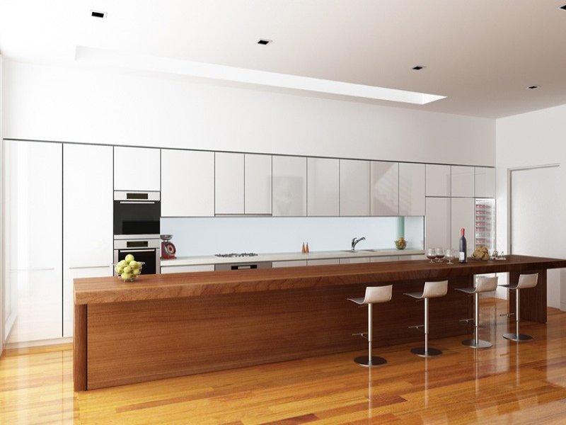 Modern island kitchen design using floorboards - Kitchen ...